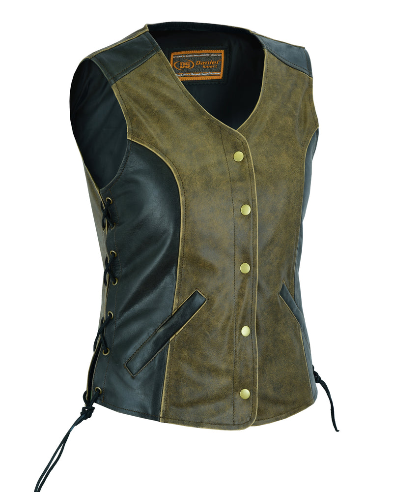 DS214  Women's Stylish Longer Body ¾ Vest - Side Laces - Two T