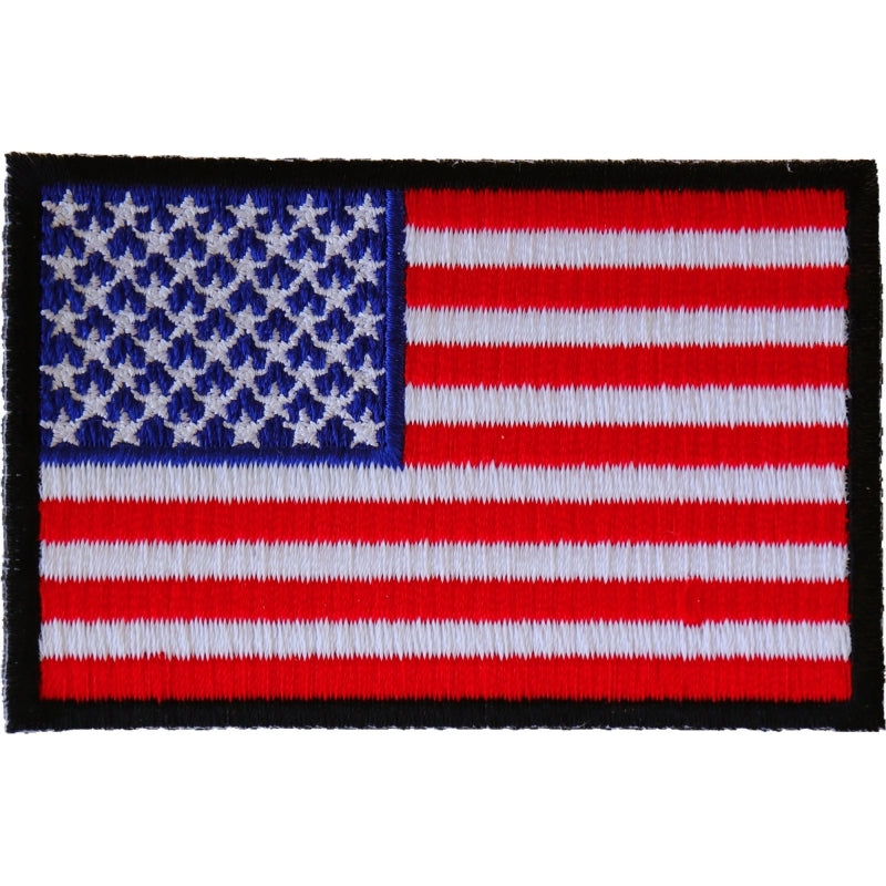 P2046B American Flag Patch with Black Borders