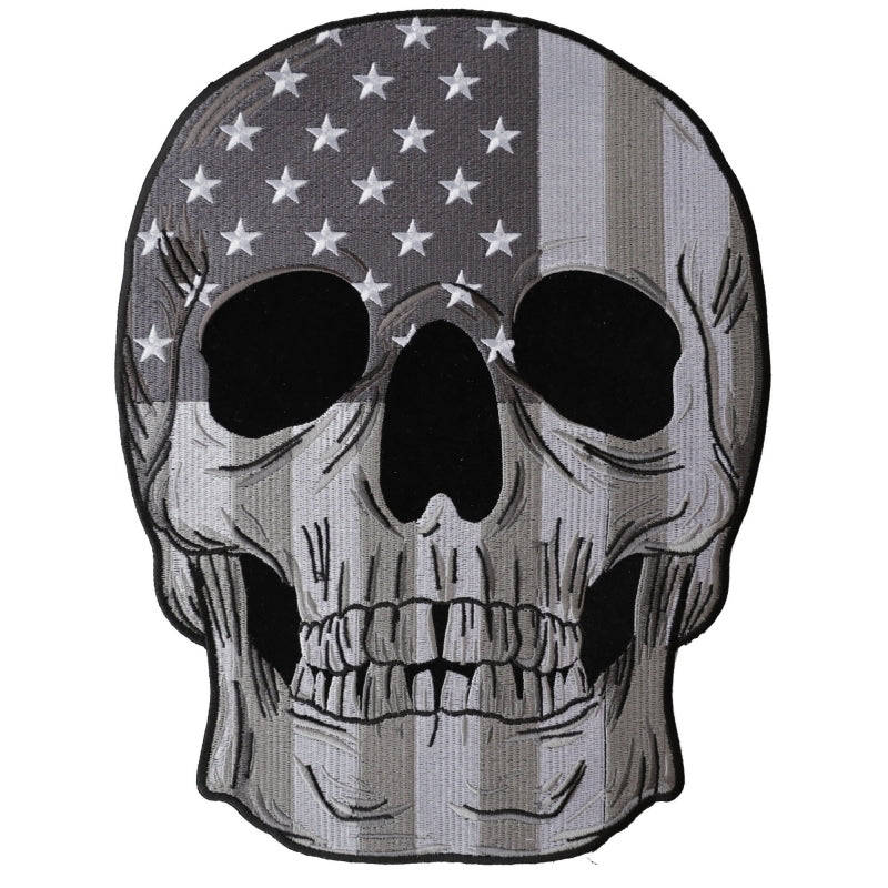 PL6031 Skull Subdued American Flag Embroidered Iron on Patch