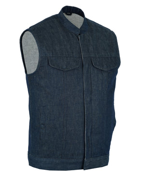 DM976 Men's Blue Rough Rub-Off Raw Finish Denim Vest