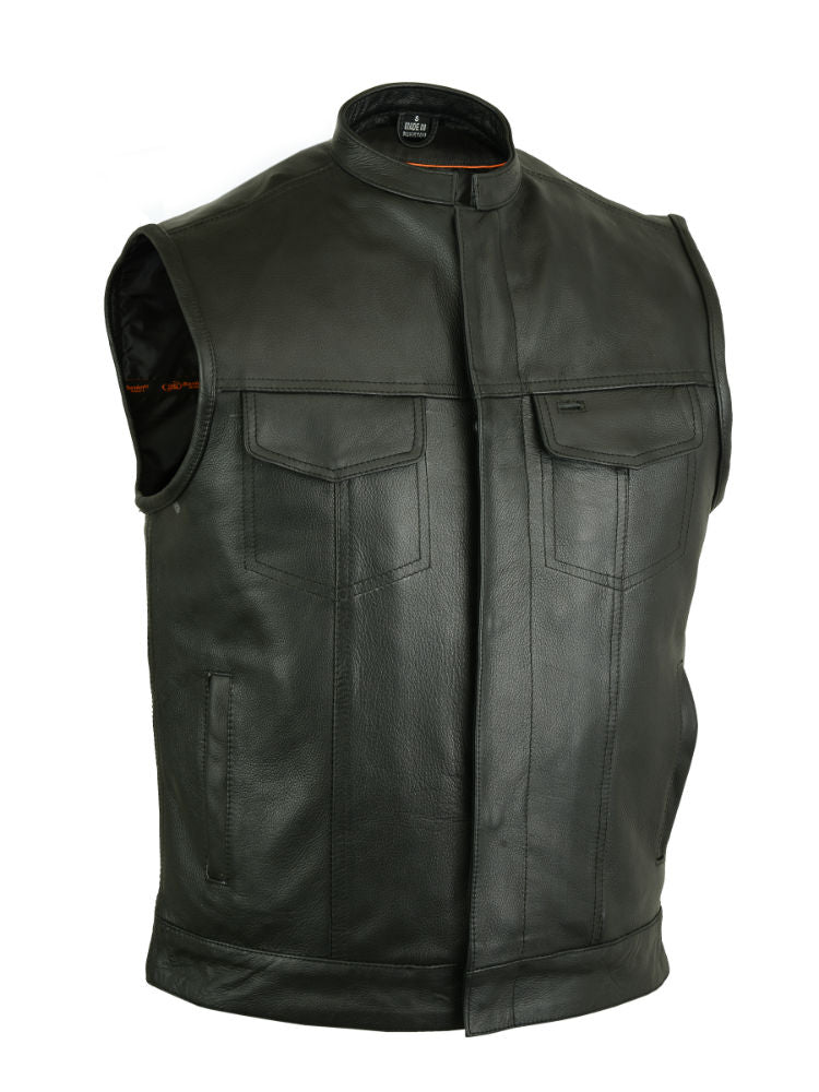DS189A Concealed Snap Closure, Milled Cowhide, Scoop Collar & Hidden