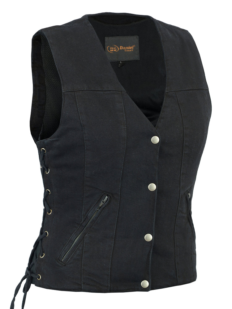 DM906BK Women's Single Back Panel Concealed Carry Denim Vest
