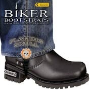 BBS/FS6 Weather Proof- Boot Straps- Flaming Skull- 6 Inch