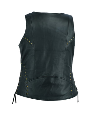 DS233 Women's Zippered Vest with Lacing Details