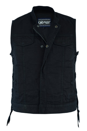 DM986 Women's Advance Side Laces Black Construction Denim Vest