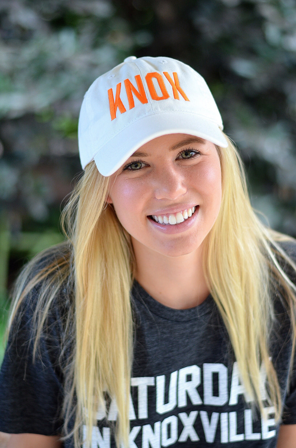 KNOX Hat, White with Orange Letters