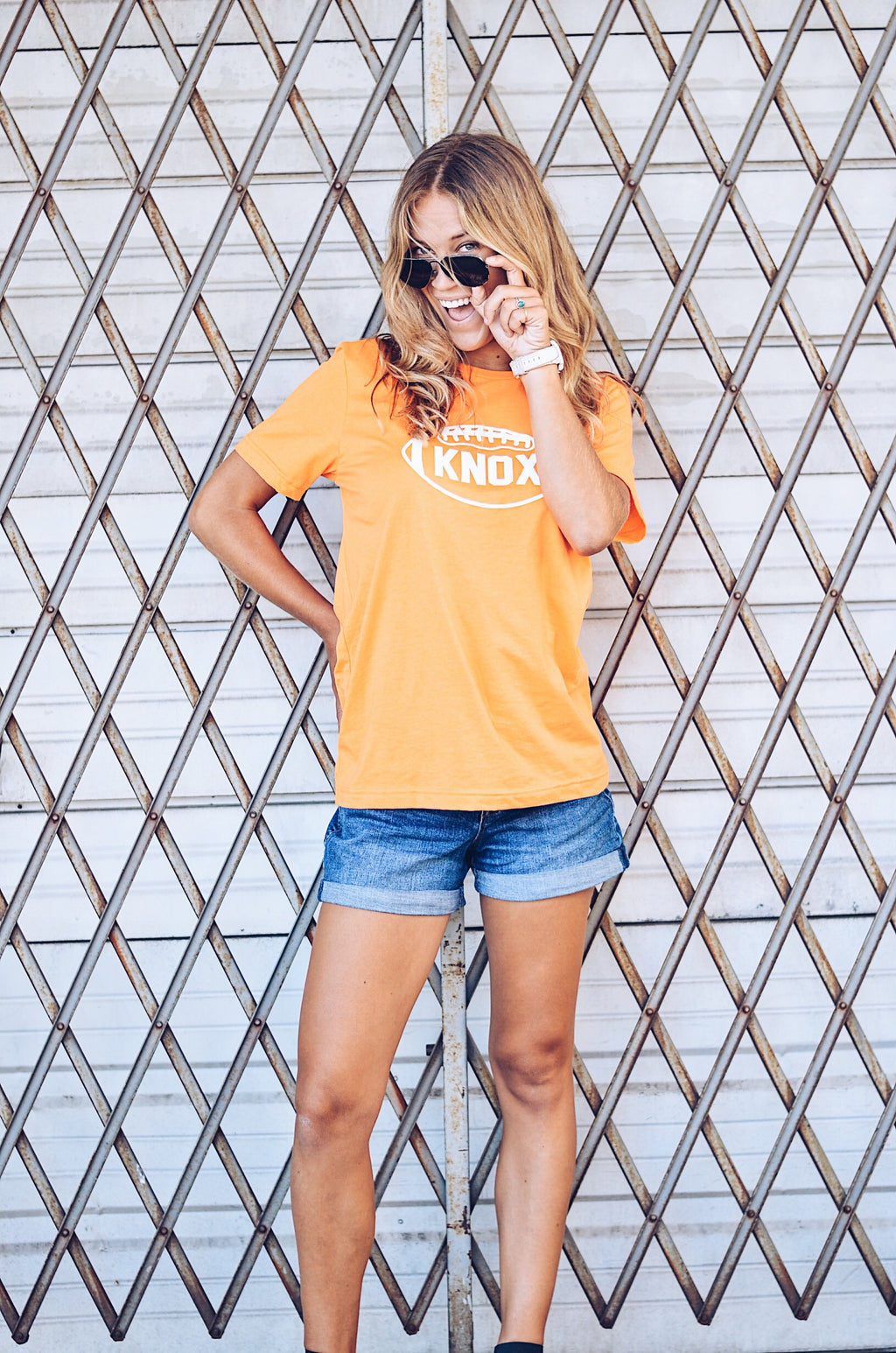 Football T-Shirt in Neon Orange, KNOX