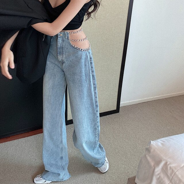Chains Cut Out Jeans