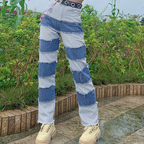 Stripes Patchwork Jeans