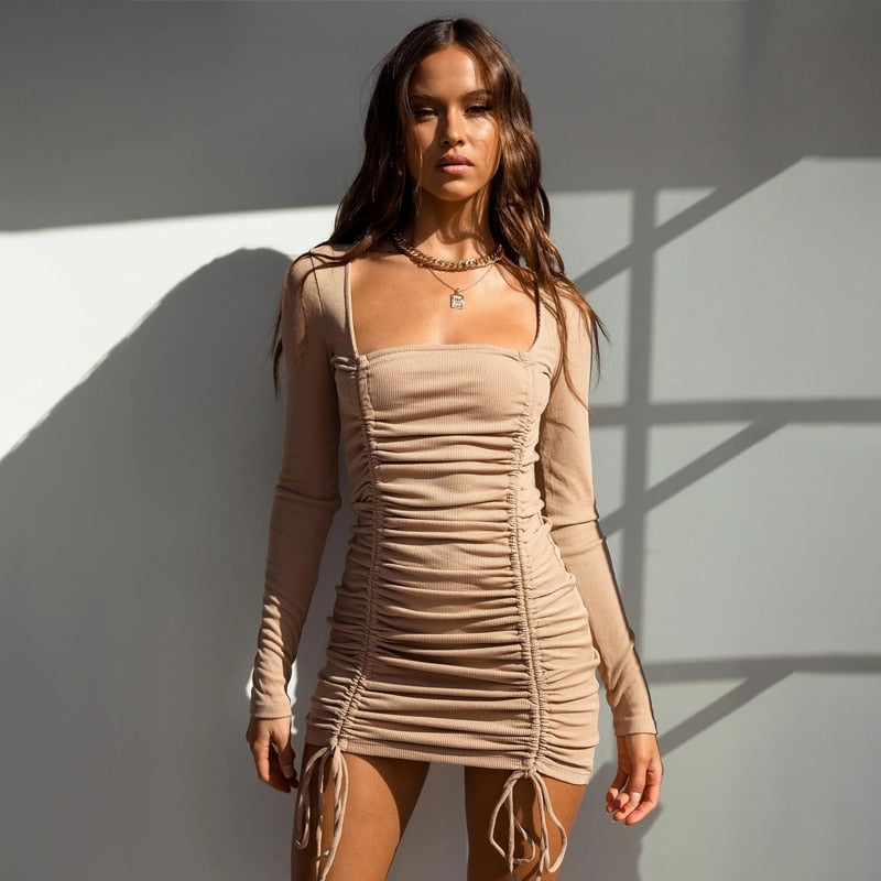 Ruched Long Sleeves Dress