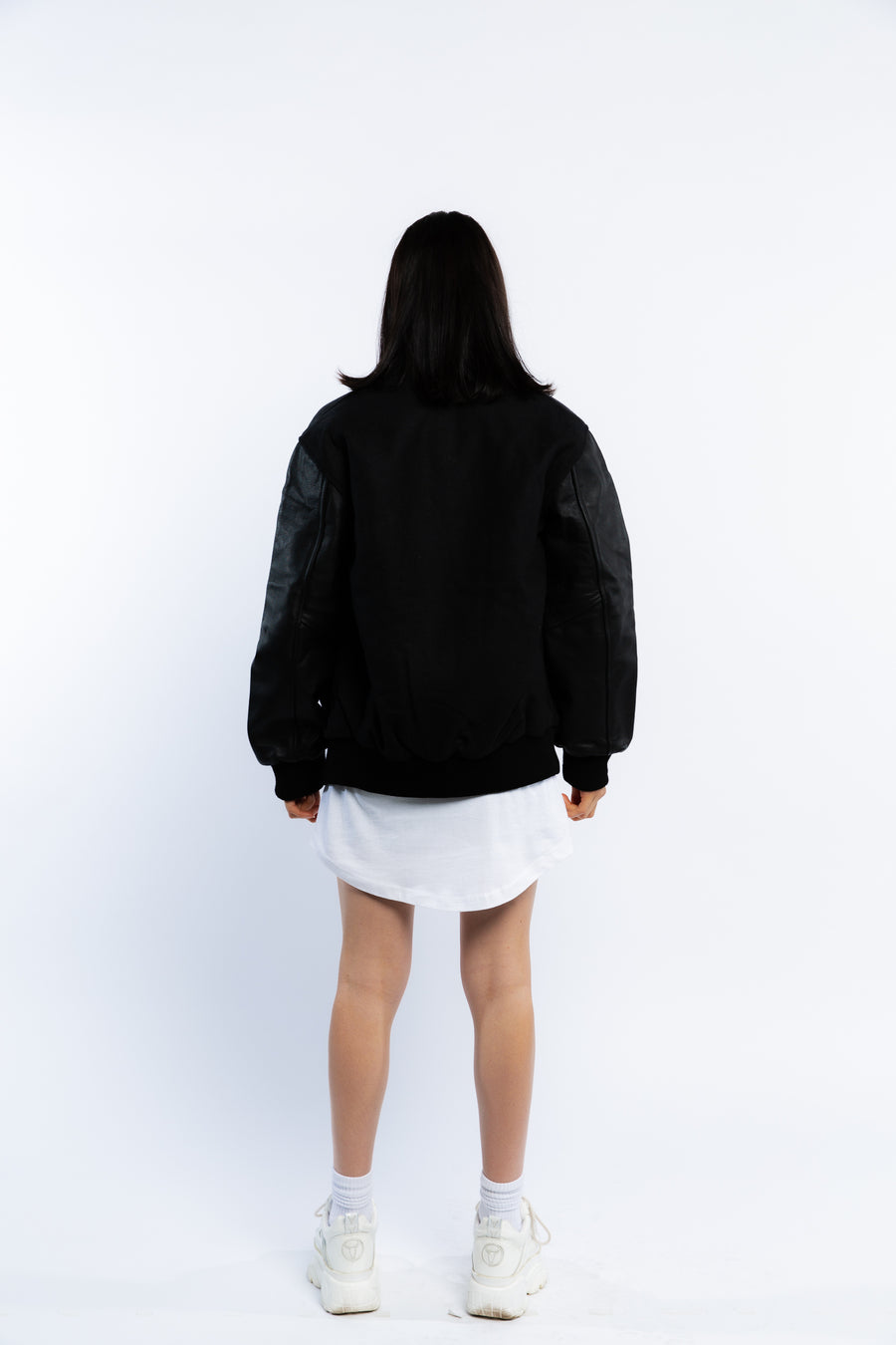 LEATHER VARSITY JACKET - BLACK