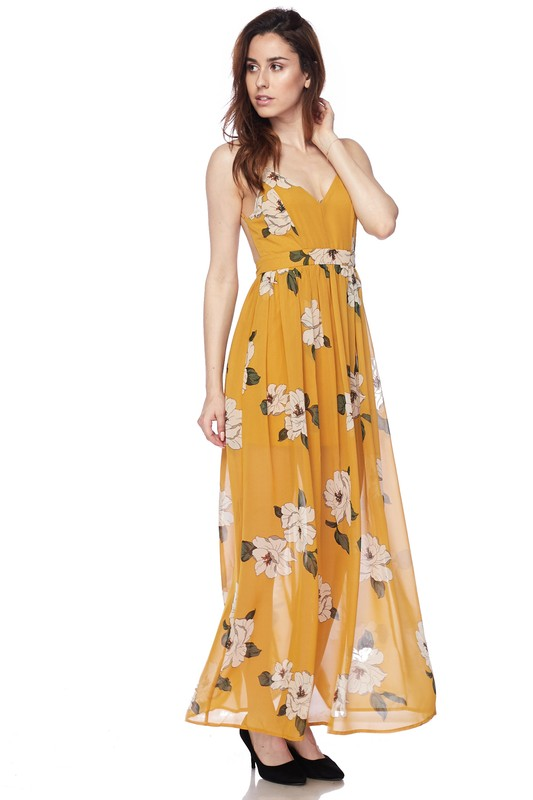 Kathryn Floral Mustard Maxi Dress