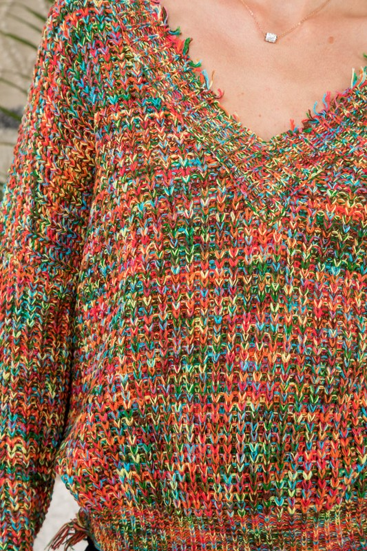 Rainbow Distressed Sweater