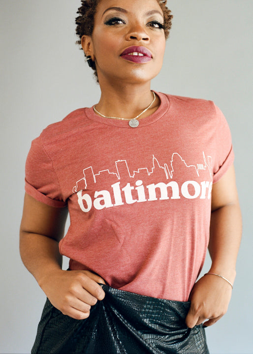 Brick Baltimore Skyline T-Shirts by Pangea Printing