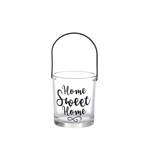 Home Sweet Home Glass Candle Holder with Handle: 3.5 x 4 inches
