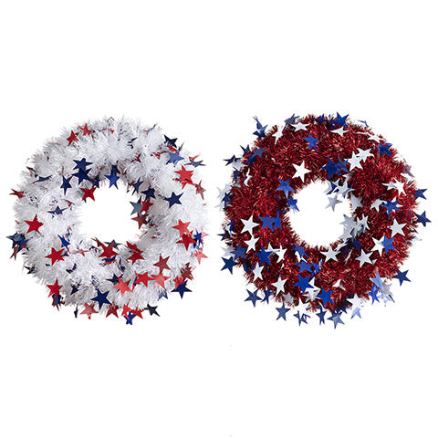 Tinsel & Star Patriotic Wreath