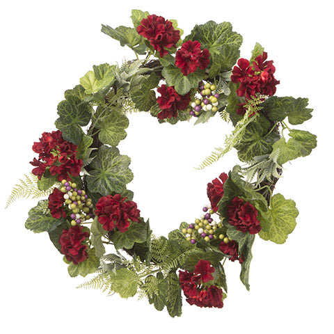 Red Geranium Berry Wreath: 22 inches