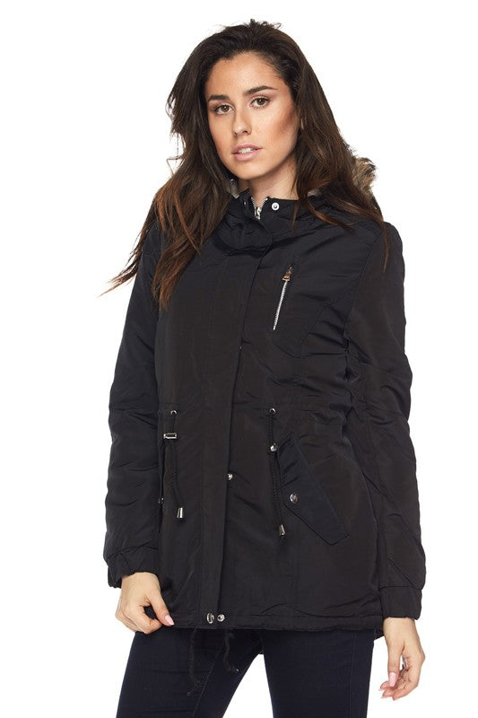 Fur Hooded Black Jacket