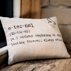 'Eternal' Natural Linen Ring Pillow with Vintage Type - thecodexclub