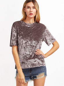 Coffee-Talk Crushed Velvet Lavender T-Shirt - thecodexclub