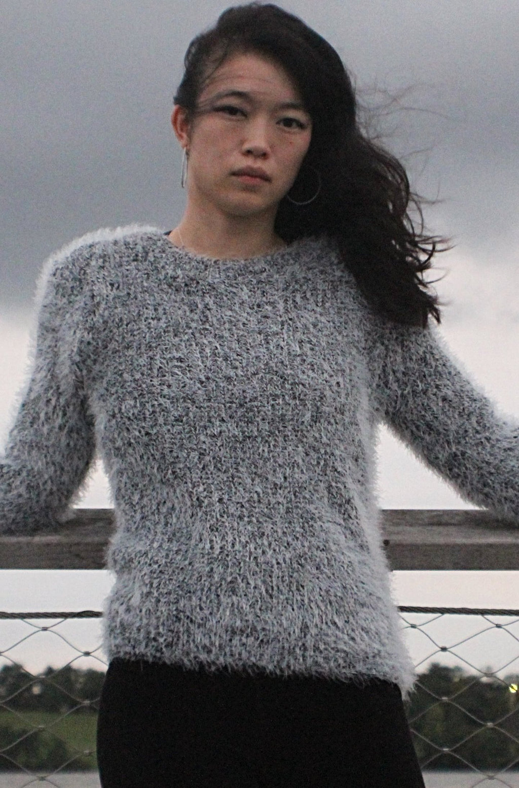 Cozy Grey Fluffy Sweater - thecodexclub