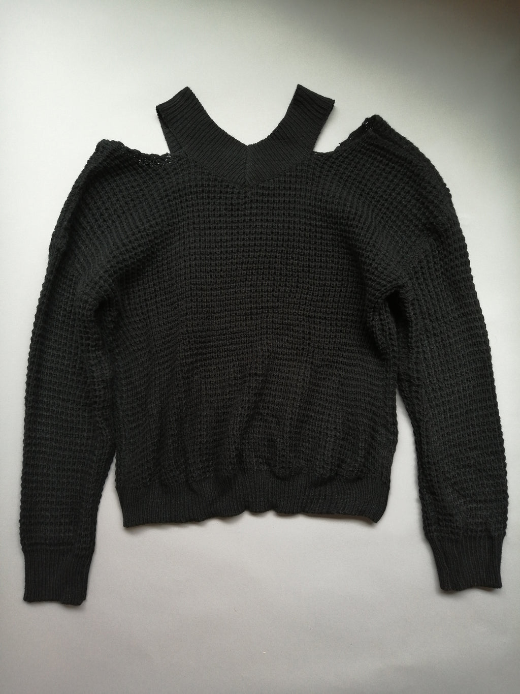 Black Open-Shoulder Sweater