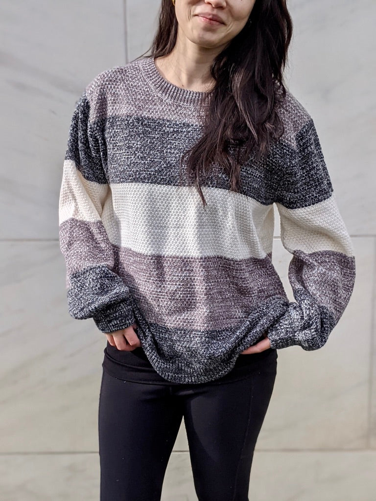 Shades of Grey Color Block Sweater