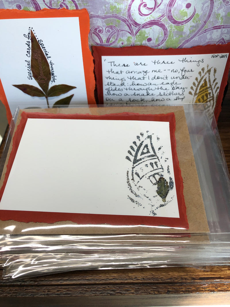Hand-pressed Flower and Leaf Cards by Yvonne Fisher