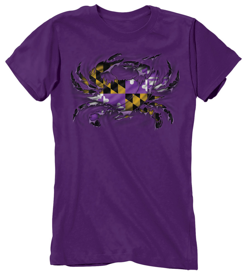 MD Purple Ripped Crab Ladies T-Shirt
