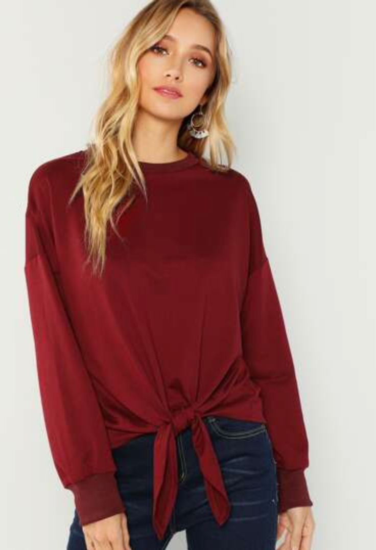 Burgundy Twist-tie Sweatshirt