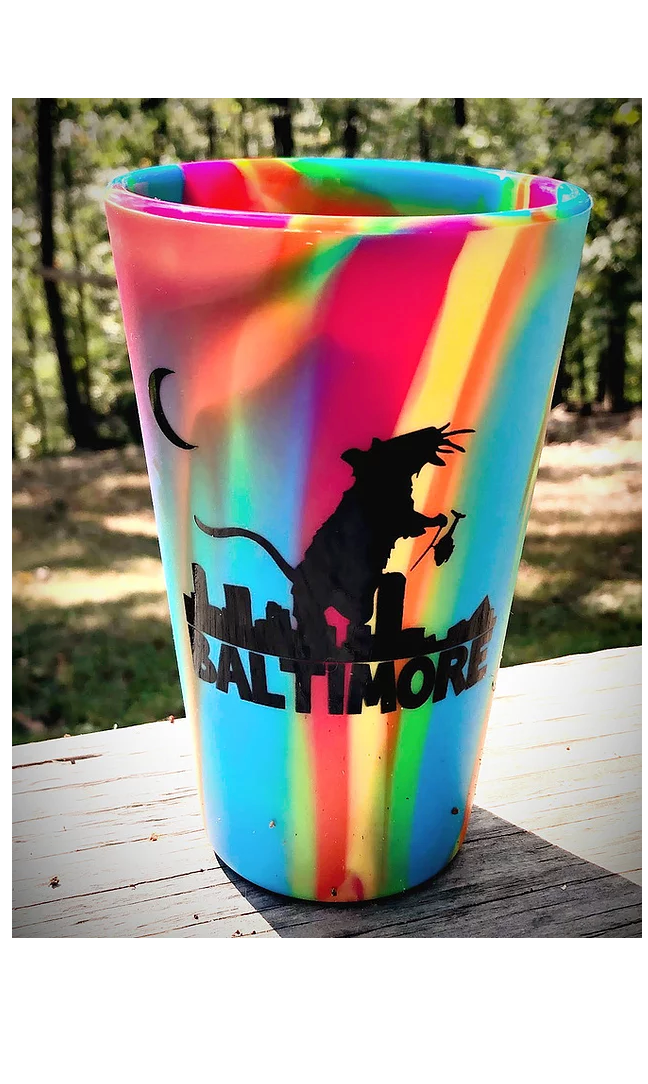 Ratzilla silicone pint glass (Tie Die) by Rat Czar