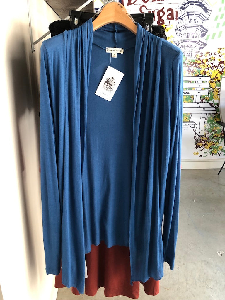 Blue Wrap Cardigan Sweater