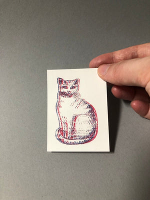 3D Red & Blue Cat Sticker
