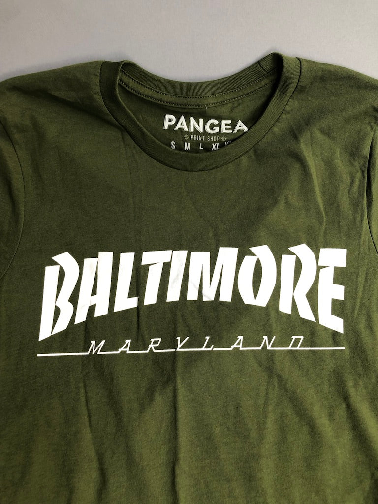 Green Baltimore Skyline T-Shirt by Pangea Printing