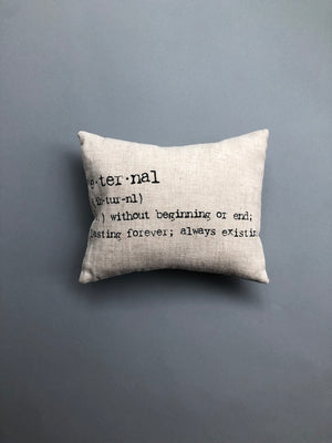 'Eternal' Natural Linen Ring Pillow with Vintage Type