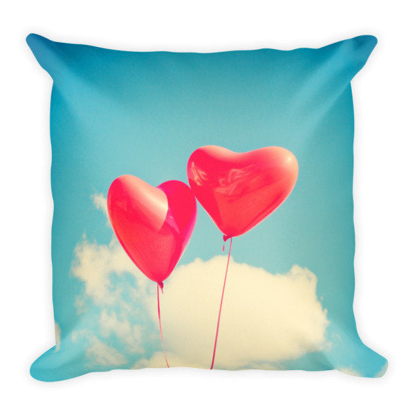 Hearts in the Sky Square Pillow