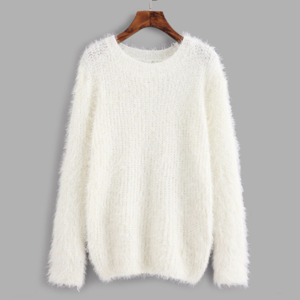 Cozy White Fluffy Sweater