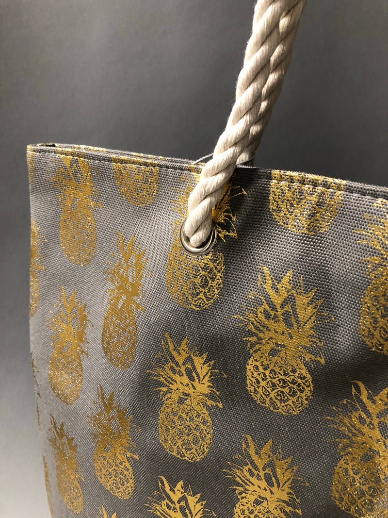 Gold Grey Pineapple Tote