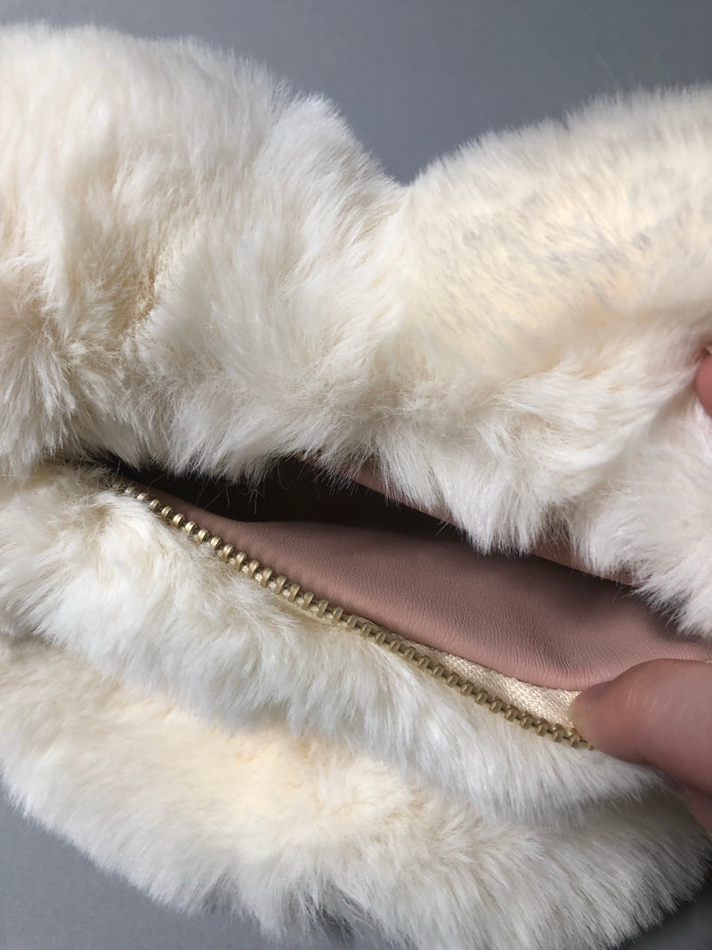 Plush Ivory Heart Purse with Gold Chain
