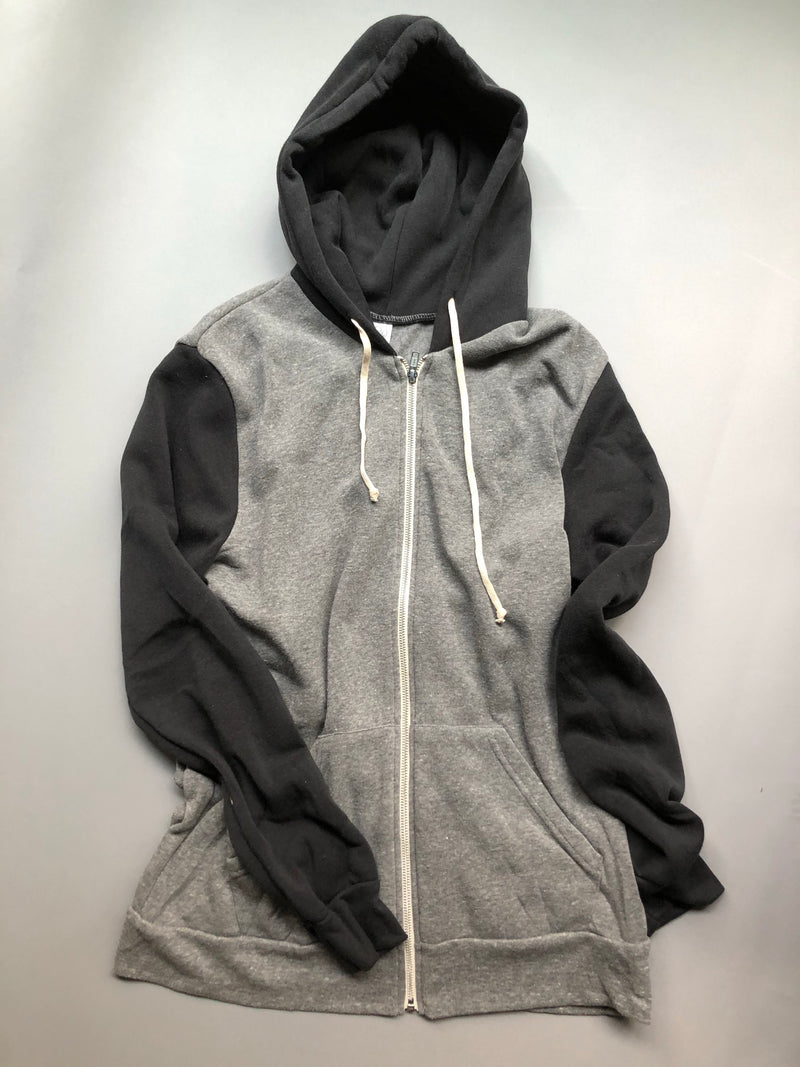 Black and White Textured Zip-Up Hoodie