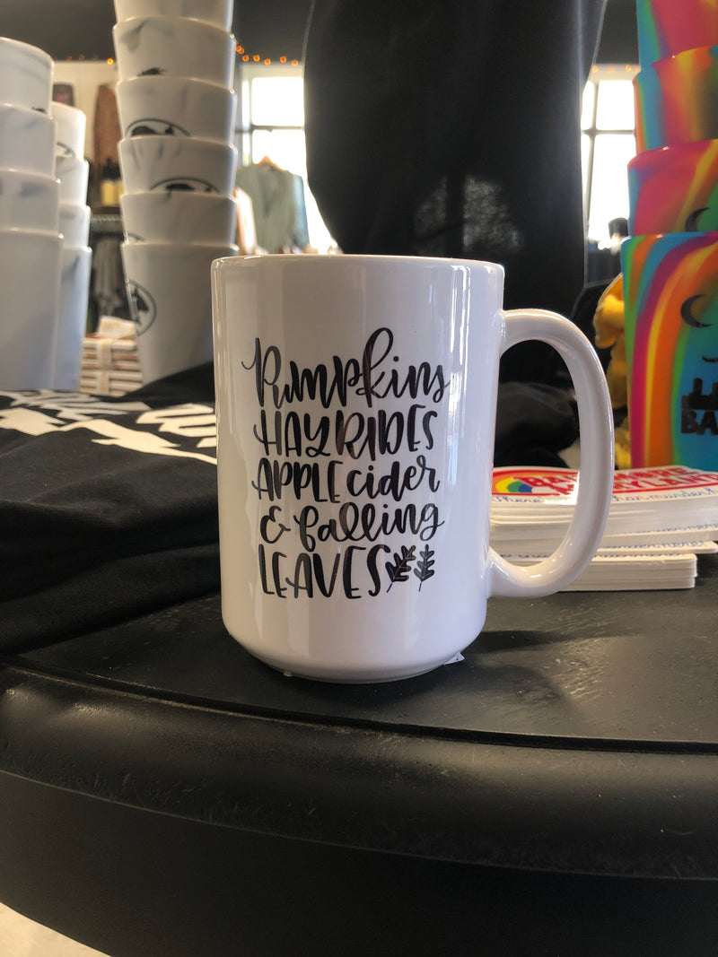 Pumpkins & Hay Rides Autumn Fall Mug 15oz