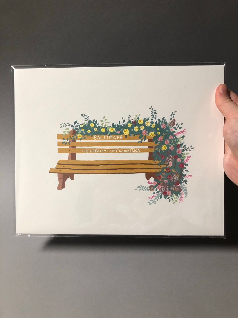 Baltimore Bench Print by Megan McKee