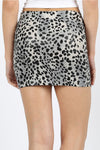 Leopard Print Poly Leather Mini Skirt