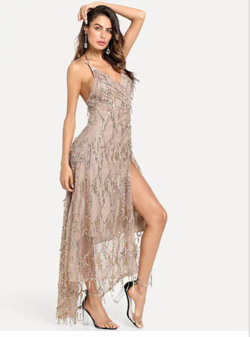 Cream Sparkly Sequin Party Dress - thecodexclub