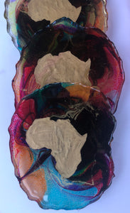 """AFRI-COASTERS"" -Set of Six (6) Geode Resin Coasters"