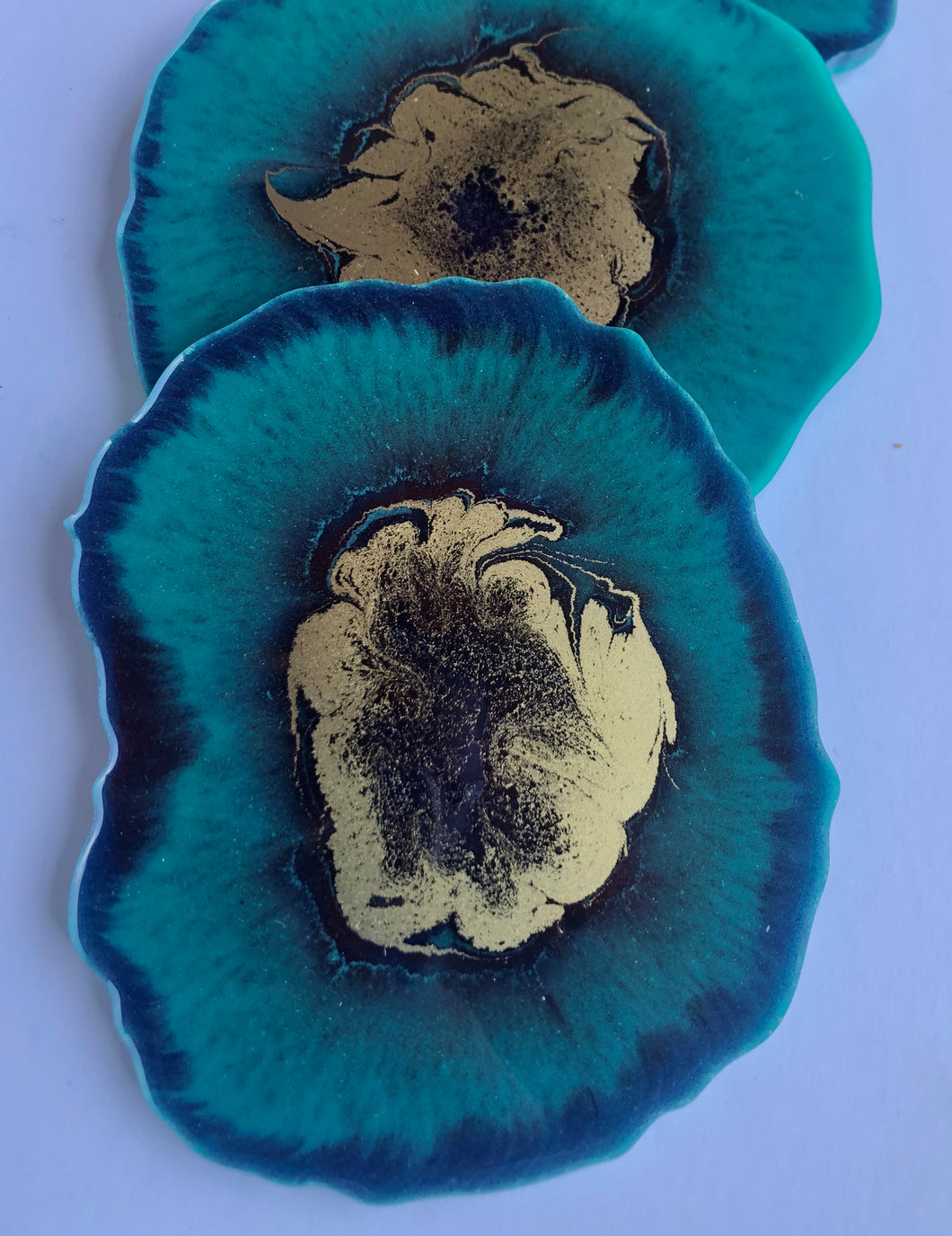 TEAL AND MIXED COLORS w/GOLD -Set of Four (4) Geode Resin Coasters