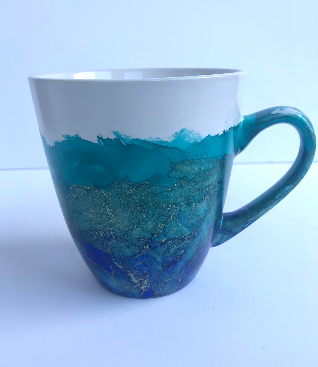 ALCOHOL INK MUG- Blue/Teal/Gold