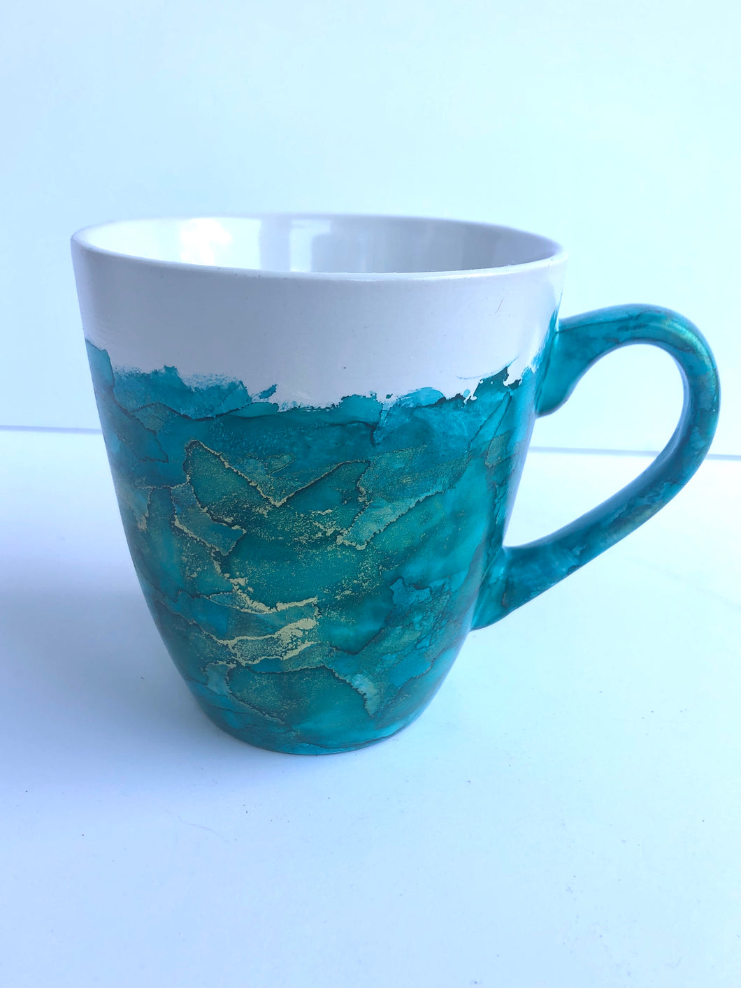 ALCOHOL INK MUG- Teal/Gold
