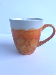 ALCOHOL INK MUG- Orange/Gold