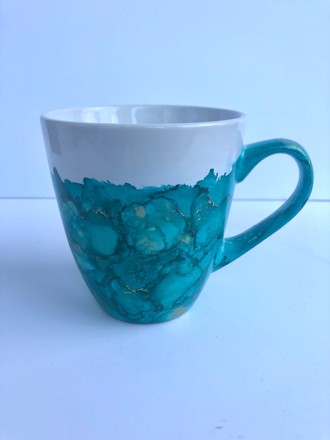 ALCOHOL INK MUG- Teal/Gold 2